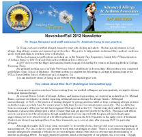 Allergy Specialist Crystal Lake - Fall 2012 Newsletter