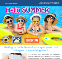 Allergy Specialist Crystal Lake - July 2017 Newsletter